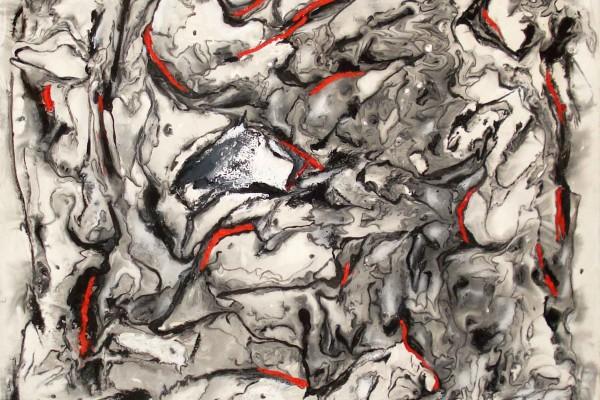 GIANNI MORA Volo di rondini – 60×60 – pittura materica su tela – 2015