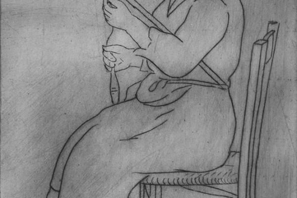 """Dino Villani,""""Prima di tessere…bisogna filare"""", puntasecca, misure lastra cm"""