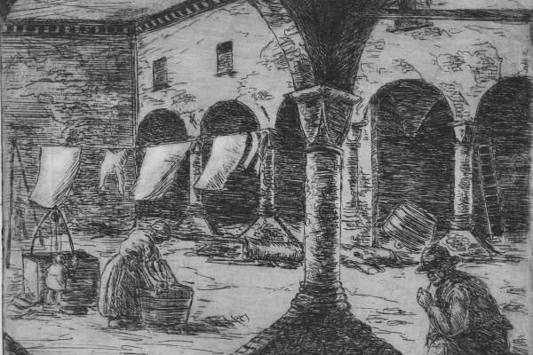 """Dino Villani, """"Il bucato nell'aia"""", acquaforte, misure matrice cm. 18,8 x  25,2, misure foglio cm"""