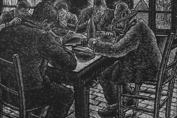 """Dino Villani, """"a tavola"""", xilografia, misure immagine cm. 36,5 x 50, misure foglio cm"""